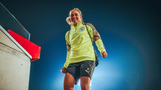 SPANISH HIGH : Pauline Bremer looks happy after our final pre-match preparations