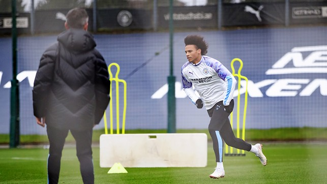 ACTION STATIONS : Our German winger goes through a specially prepared running drill