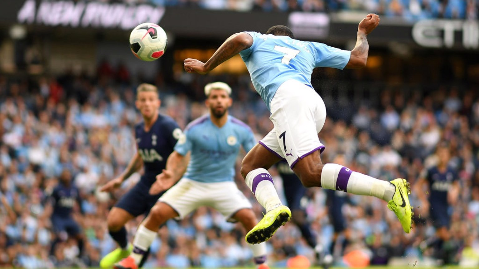 TECHNIQUE: Raheem Sterling finds the back of the net with a delightful header.
