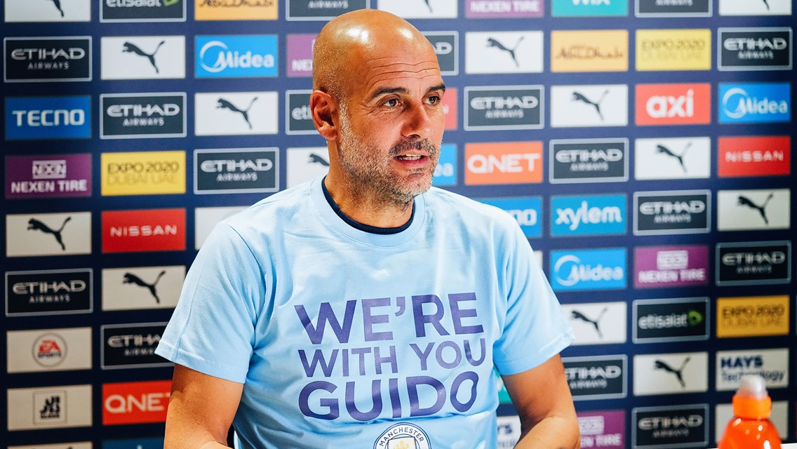 Pep Guardiola sends message of support to City fan attacked in Belgium
