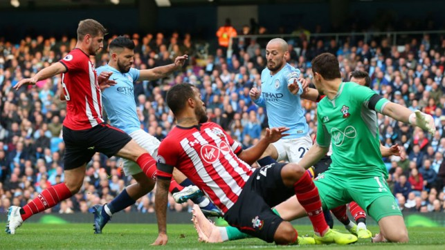 LETHAL WEAPON : Sergio Aguero is on hand to net City's second goal