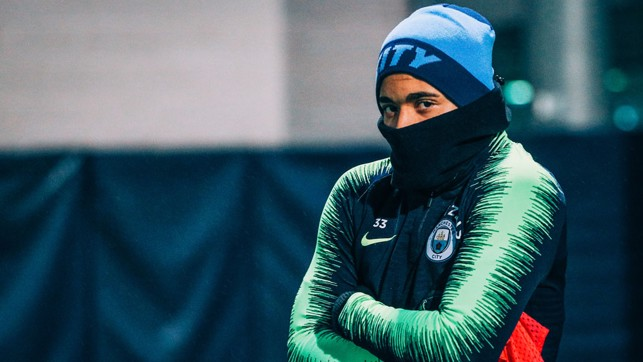 CHILLY? Wrapped up warm for the training session.