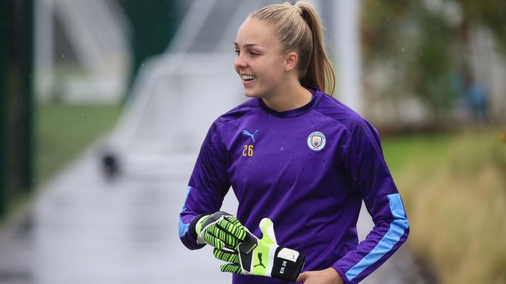 GLOVED: Ellie Roebuck readies herself for training.
