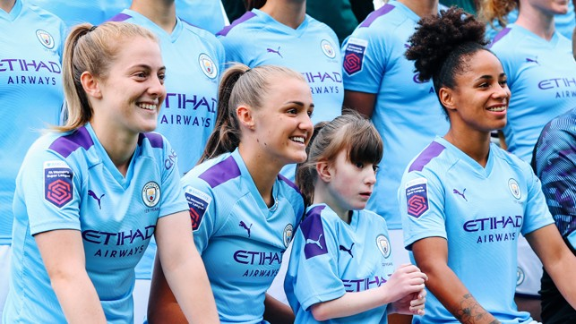 LITTLE LIONESS : Ava sits alongside a trio of City and England stars in Keira Walsh, Georgia Stanway and Demi Stokes