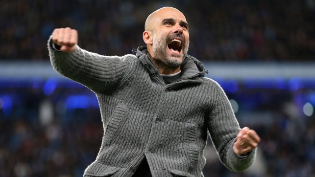HOME COMFORT : Pep celebrates Kompany's wonder-goal v Leicester at the Etihad