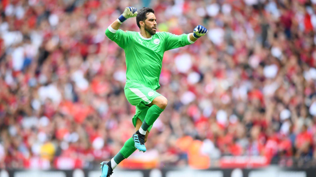 BACK IN THE GAME : Claudio Bravo made his first competitive appearance for City since last season's Community Shield victory against Chelsea.
