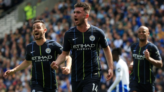MESMERIC LAPORTE : Aymeric Laporte rose highest to head home another pivotal goal to hand City the lead