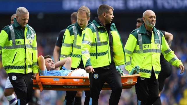FRUSTRATION : Aymeric Laporte is forced off through injury in the first half.