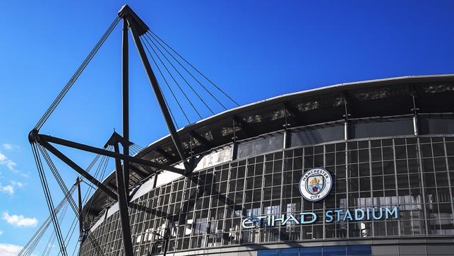 THE NAME GAME: Blues skies frame the Etihad Stadium