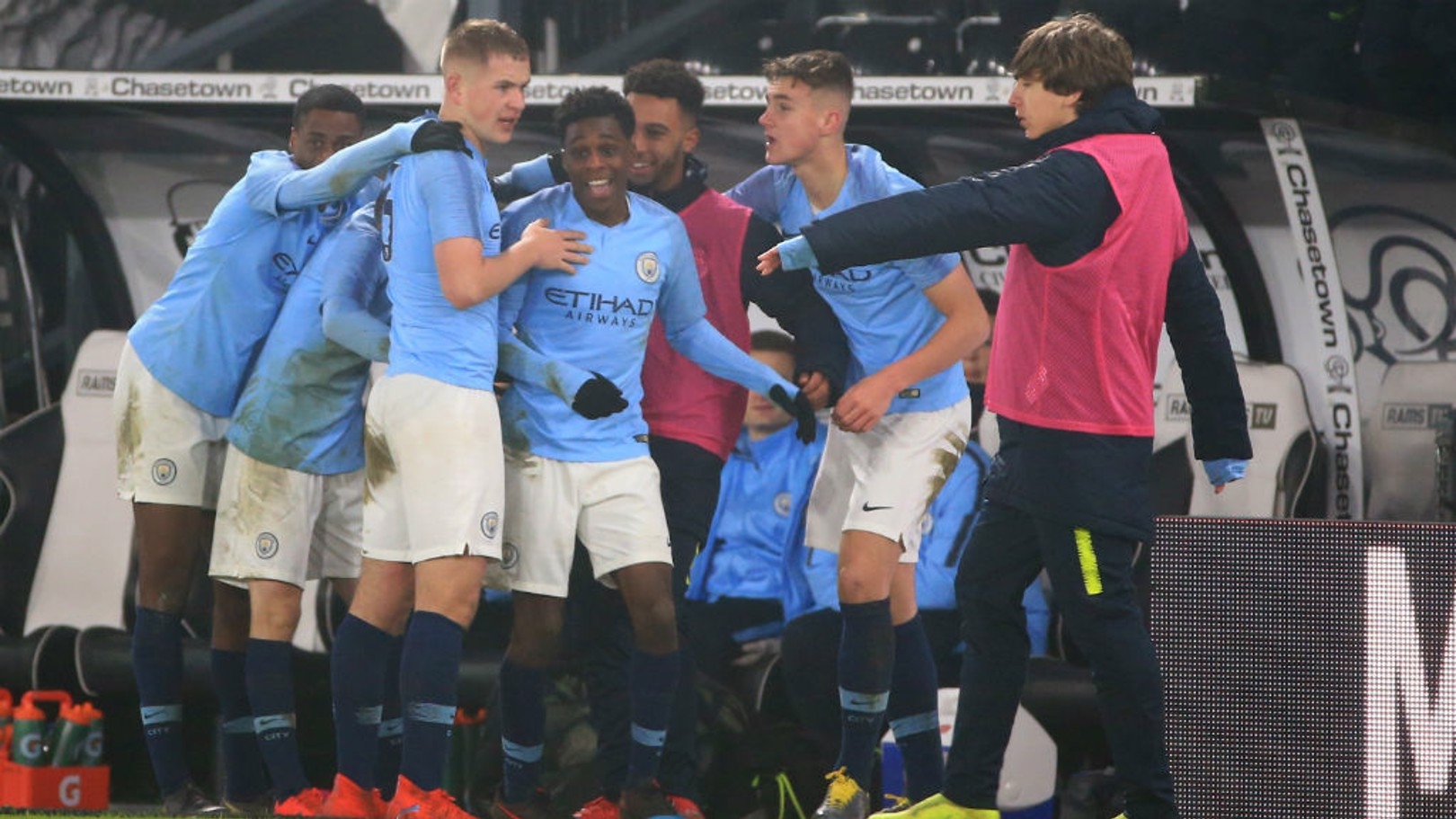 SQUAD GOALS: The young Blues celebrate our second of the night.
