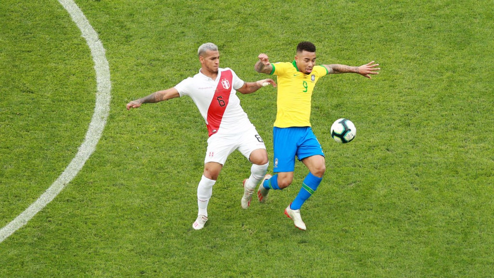 NUMBER NINE: Gabriel Jesus in action for Brazil against Peru.