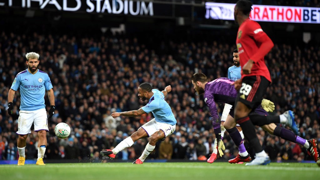 RAZZLE DAZZLE : Sterling does well to get past De Gea but blazes over the bar.