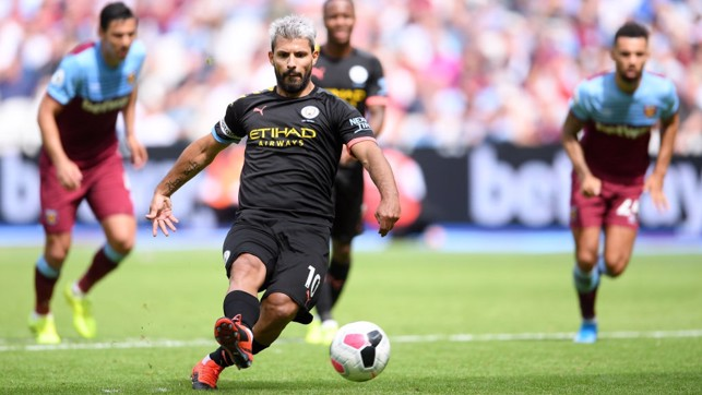 RESPONSIBILITY : Sergio Aguero scores with his second attempt from the penalty spot.