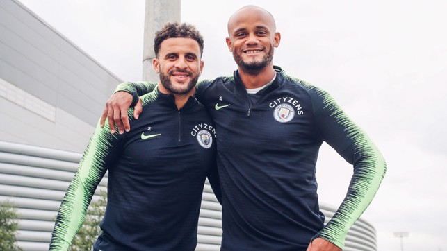 DEFENSIVE DUO : Smiles from Vincent Kompany and Kyle Walker.