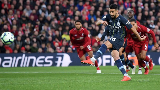 AGONY : Riyad Mahrez is off target with our 87th minute penlaty
