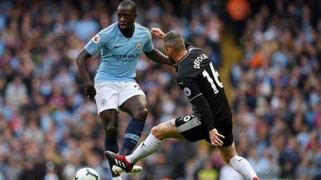 MEN AT WORK: Benjamin Mendy looks to put City on the attack