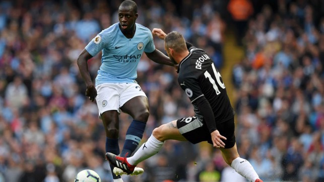 MEN AT WORK : Benjamin Mendy looks to put City on the attack