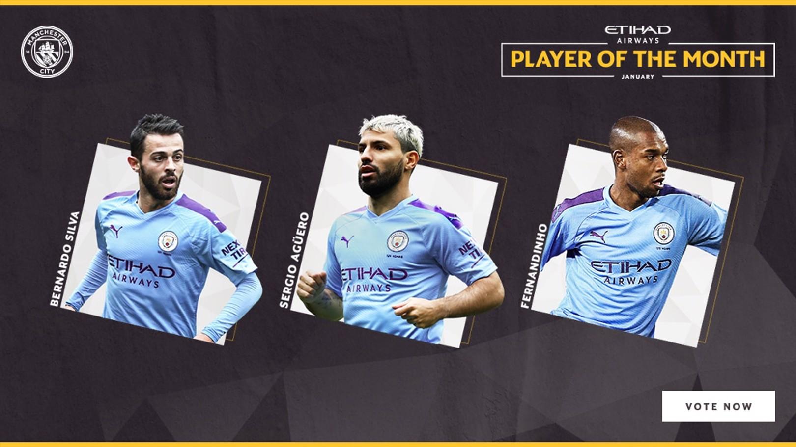 NOMINEES: Sergio Aguero, Fernandinho and Bernardo Silva are up for January's Etihad Player of the Month.