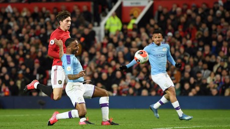 Raheem Sterling is inches away from equalising