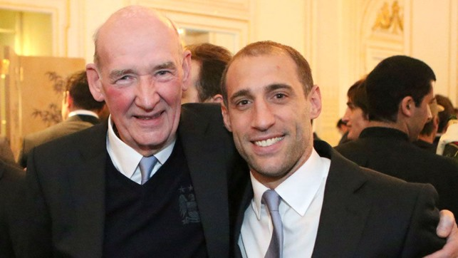 FOREVER BLUE : Bernard and former City star Pablo Zabaleta both cut quite a dash at an event to celebrate our 2012 title success