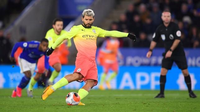 POISON PEN: Sergio Aguero's spot kick was saved by Kasper Schmeichel