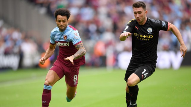 BACK IN BUSINESS : Aymeric Laporte returned to City's starting line-up after missing the Community Shield.