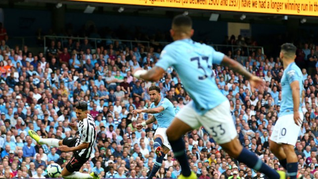 WALKER WONDERGOAL : Kyle Walker powers in a 25-yard strike to give City a 2-1 win over Newcastle