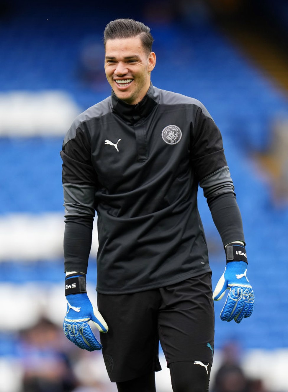 ALL SMILES : Ederson in relaxed mood ahead of kick-off.