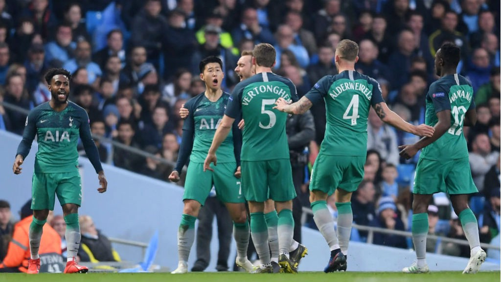 CAPITAL GAIN : Son and his Spurs team-mates celebrate after his early brace