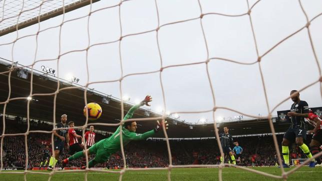 NET GAIN : David Silva's crisp strike ripples in the back of the Southampton goal