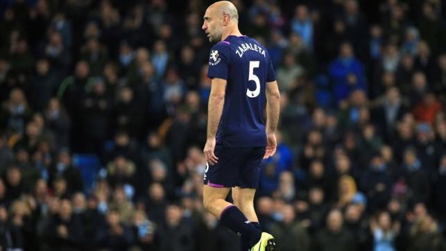 FAMILIAR FACE : City legend Zabaleta came on in the second period and received a heartwarming reception from the home crowd.