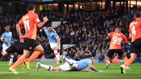 DEADLOCK BROKEN: Ilkay Gundogan opens the scoring, finishing off a well-worked team move