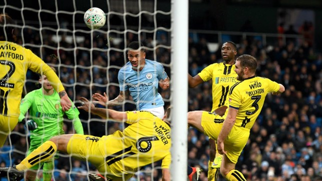 HEAD BOY : Gabriel Jesus heads home his first goal to double our lead