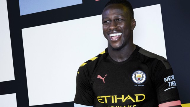 ALL SMILES : French full-back Benjamin Mendy is in positive mood as he sports City's new 2019/20 away shirt