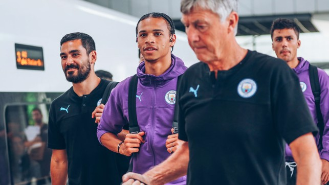 HERE WE GO : Ilkay Gundogan, Leroy Sane, Brian Kidd and Rodri are ready to board.