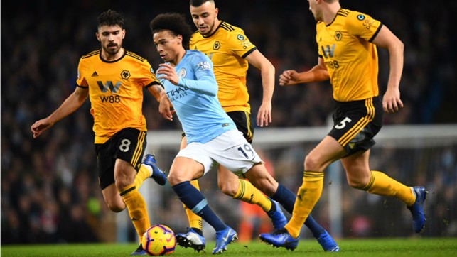 MAN ON A MISSION : Leroy Sane races through the Wolves defence
