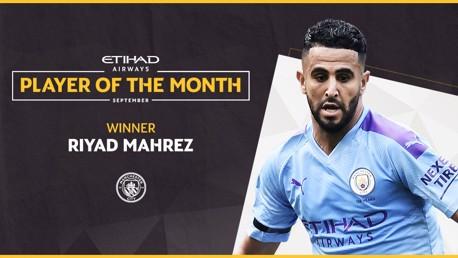 Mahrez eleito Jogador Etihad de Setembro