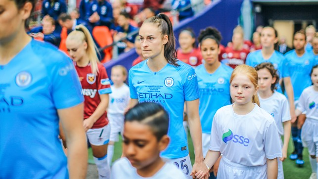 WEMBLEY : Tyler walks out with Tessa at the FA Women's Cup final