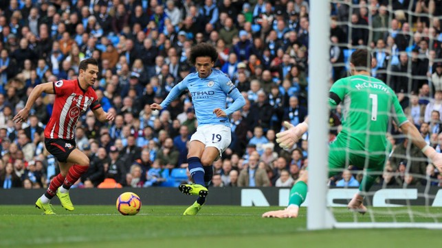 SUDDEN IMPACT : Leroy Sane's shot leads to City's opener