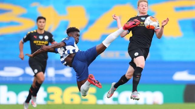 AMEX ACROBATICS: Kevin De Bruyne battles for an aerial ball