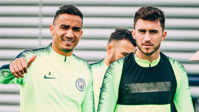 DEFENSIVE DUO : Danilo and Aymeric Laporte in good spirits