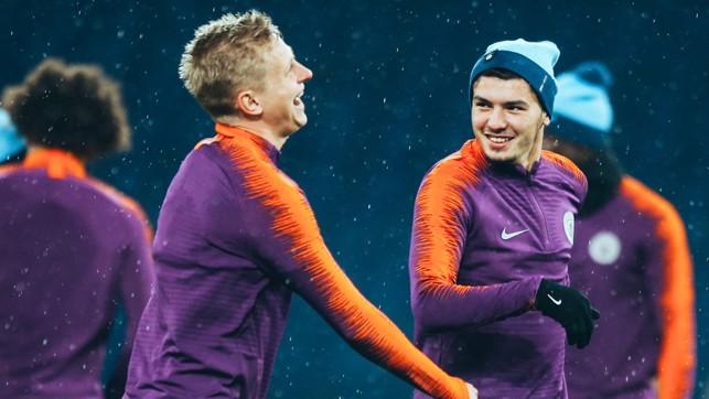 FUNNYMEN : Oleks Zinchenko and Brahim Diaz share a joke