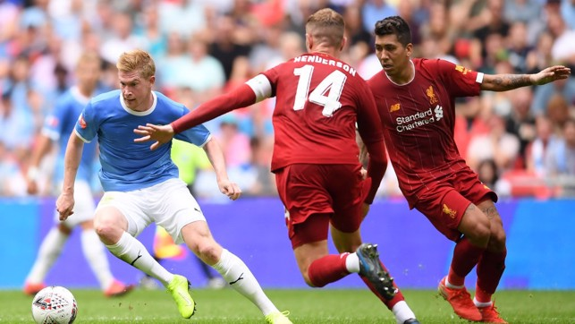 DANGER MAN : Kevin De Bruyne asked serious questions of Liverpool's defence at Wembley.