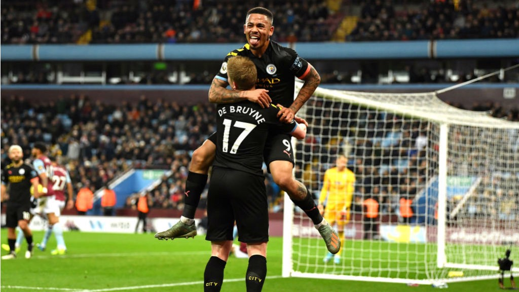 GIFT OF THE GAB : Gabriel Jesus celebrates City's fabulous fourth goal with assist king Kevin De Bruyne