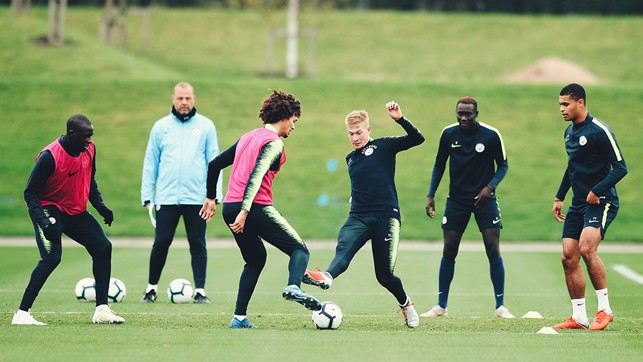 ALL TOGETHER NOW : The City players are put through their paces