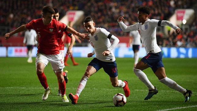 PHIL OF THE FUTURE : Phil Foden starred in England's clash with Poland at Ashton Gate