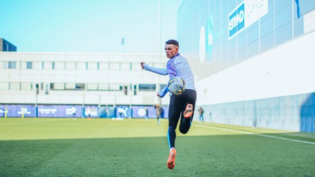 SOMEWHERE OVER THE RAINBOW: Phil Foden shows off his skills