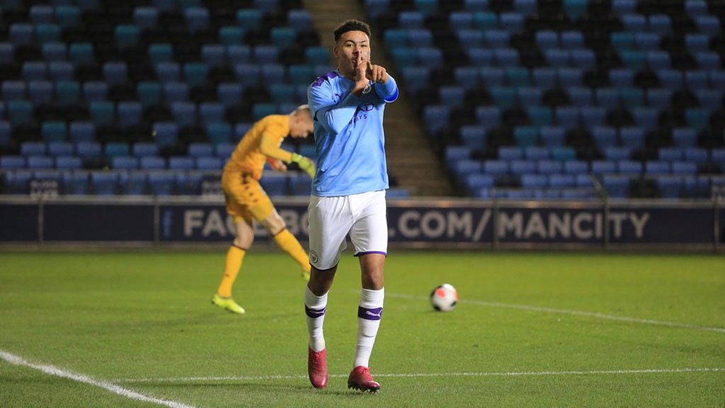DOUBLE DELIGHT : Morgan Rogers is all smiles after putting City 2-0 ahead