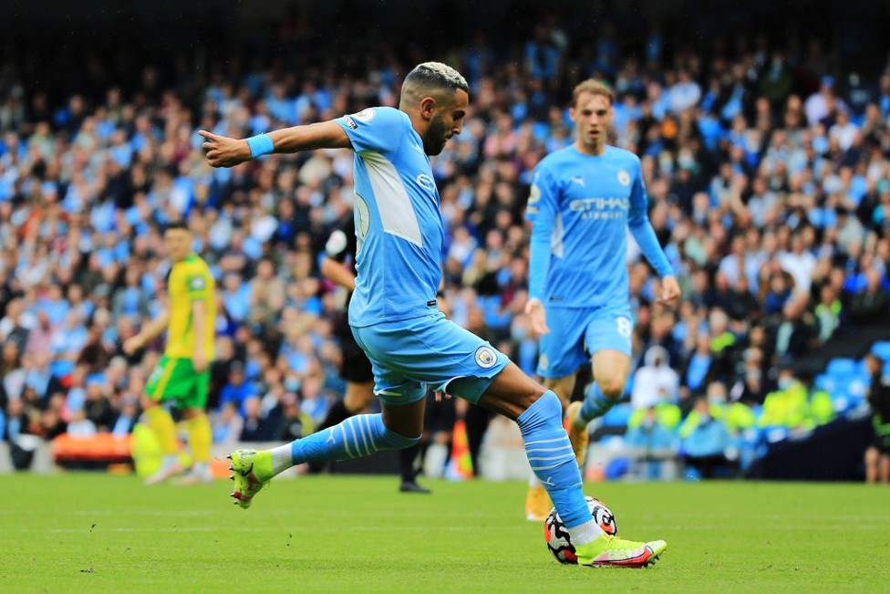 FIVE ALIVE : Riyad Mahrez wraps up the afternoon with a fifth goal