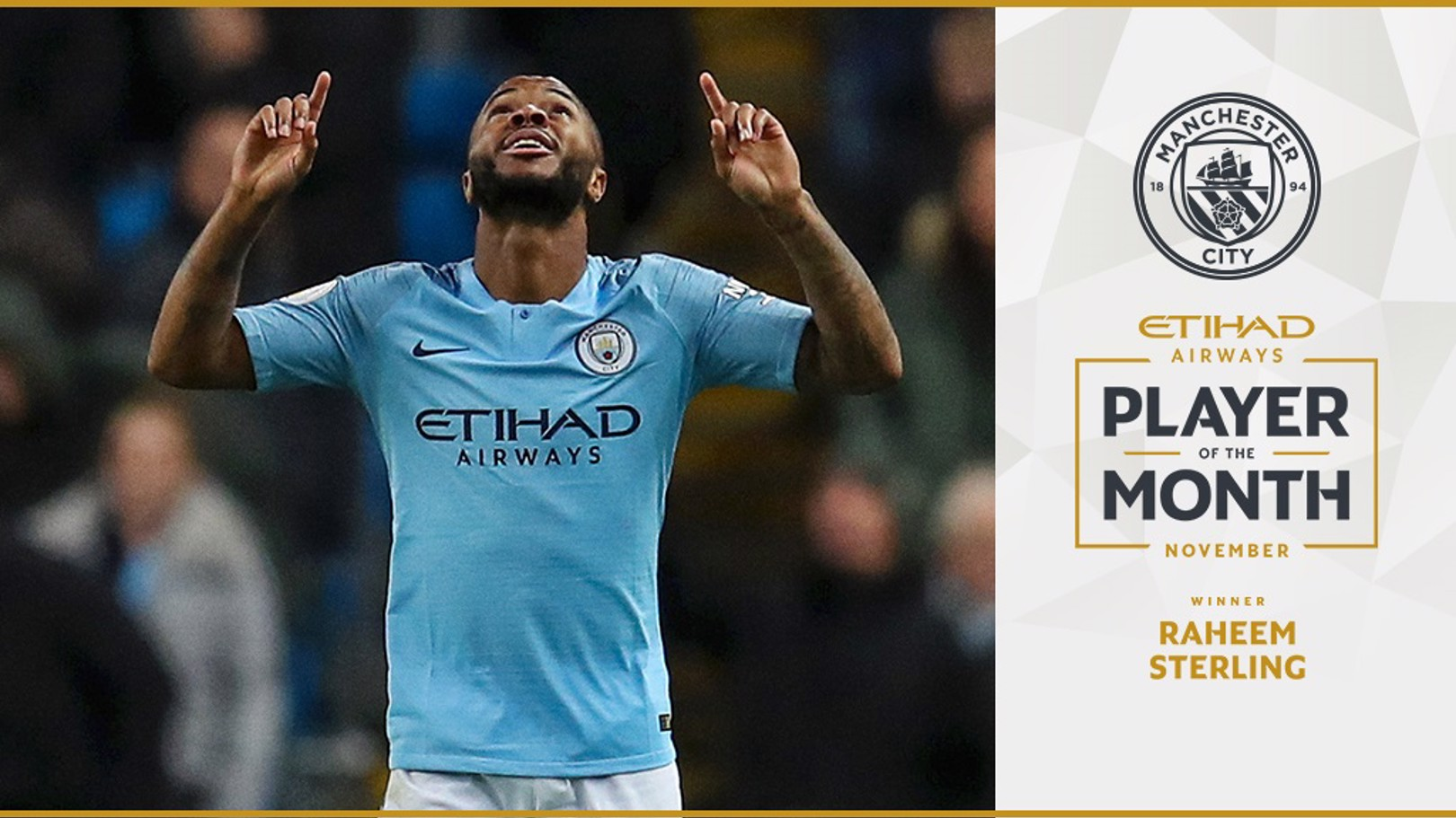 Sterling voted November Etihad Player of the Month